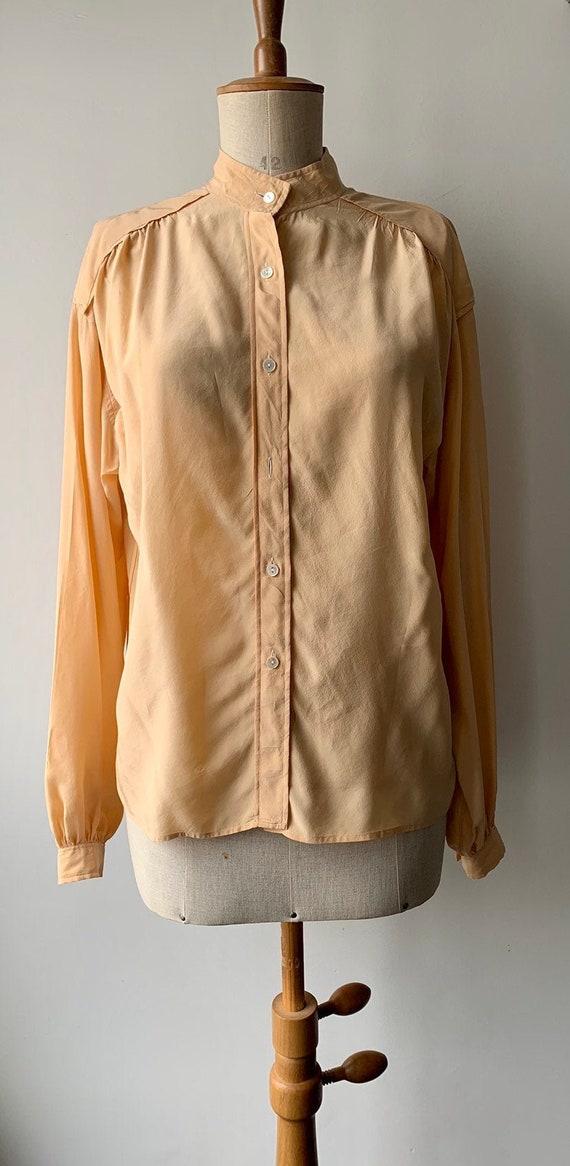 1980s JEAN HALM PARIS silk blouse,Vintage pale ora
