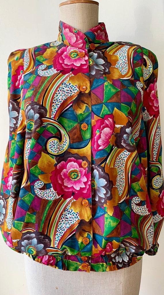 80s retro floral jacket, vintage mock neck floral
