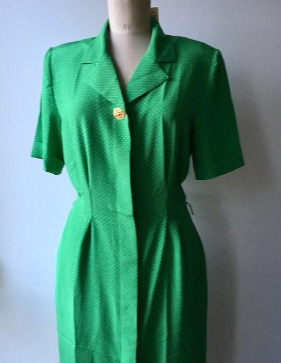 80s Emerald green polka dot Button down dress Size S,Mint Green Vintage Buttoned Dress
