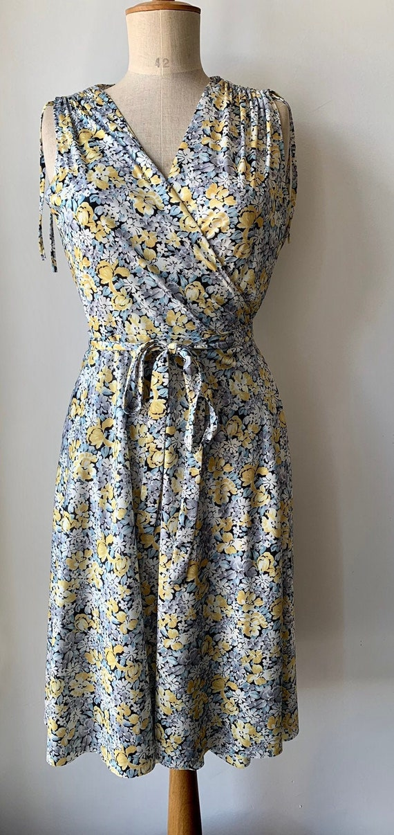 Vintage wrap dress in Pale yellow blue,wedding gue
