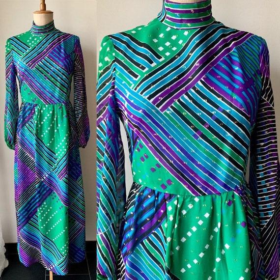 70s purple green chiffon maxi dress with long slee