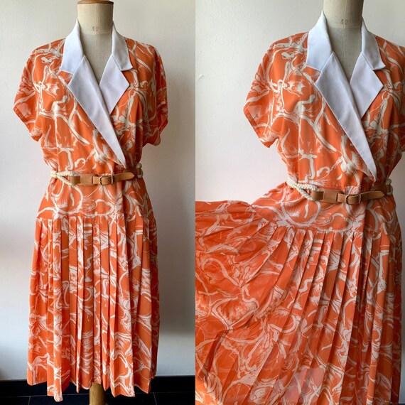 vintage orange  chiffon dress, sleeveless chiffon