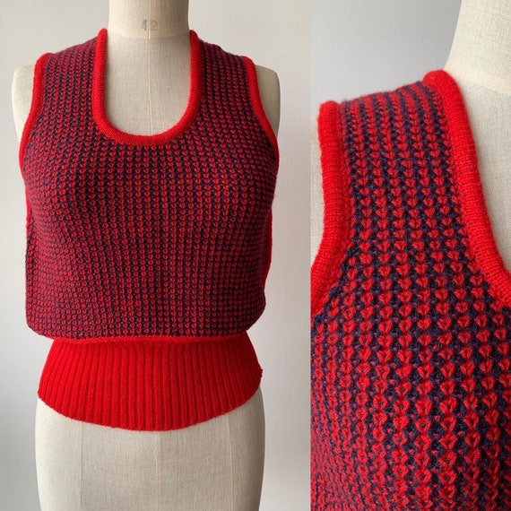 70s brick red and blue Mod shetland wool vest,Fren