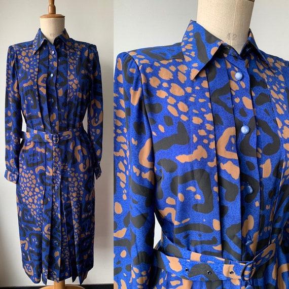 80s French Vintage midi dress in midnight Blue Bla