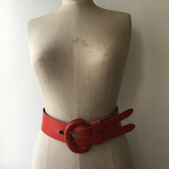 Wide Leather Brick Red Belt, 80s Vintage Leather … - image 7