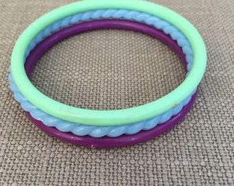 80s Resin bangles in blue purple and green