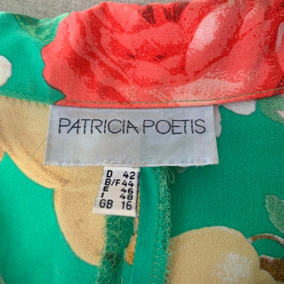 80s Floral green silk shift dress with short-slee… - image 8