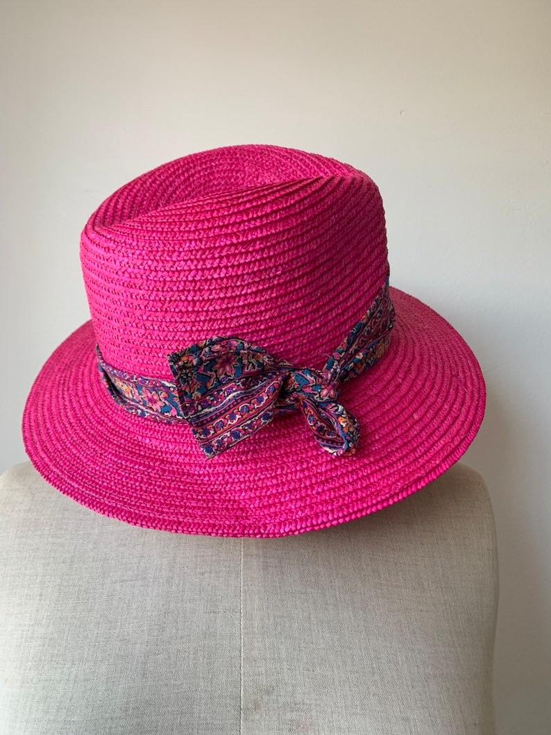 Original Cacharel straw hat Designer straw hat vintage beach accessories vintage womens summer straw hat in fuchia color