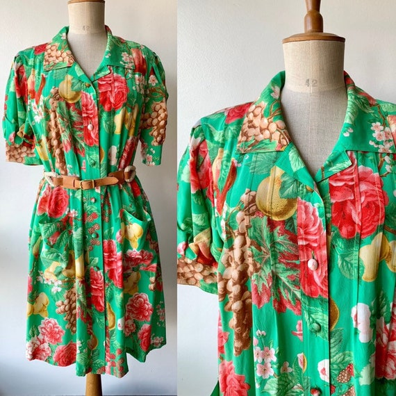 80s Floral green silk shift dress with short-slee… - image 1
