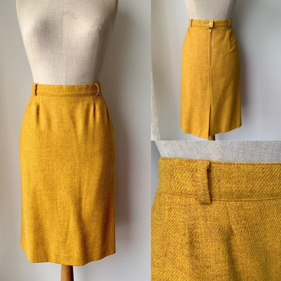 1990s Vintage BURBERRY yellow midi wool skirt, BUR