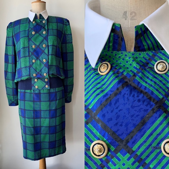 80s vintage skirt suit checkered blue green, 80s p