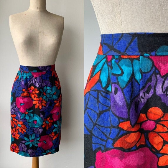 1980s wool floral bold teal pink tailor made skirt
