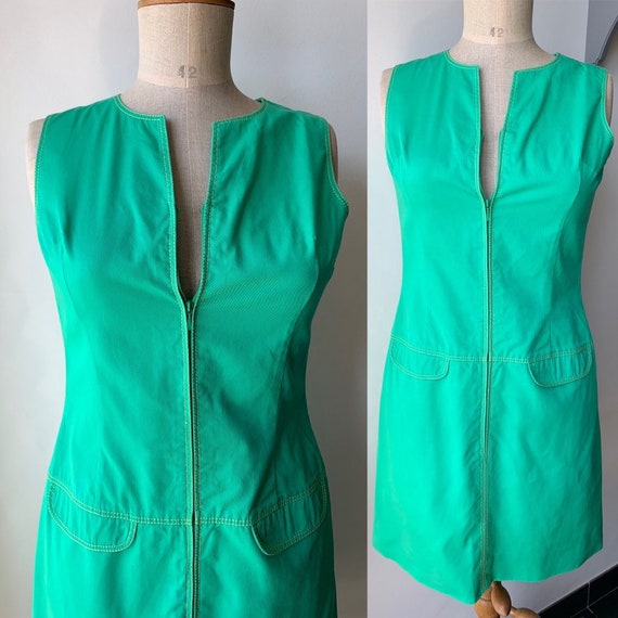 90s Green sleeveless mini dress with front zipper