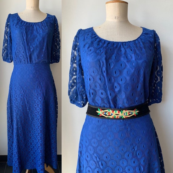 Royal blue lace infinity evening gown,vintage maxi