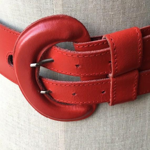 Wide Leather Brick Red Belt, 80s Vintage Leather … - image 2