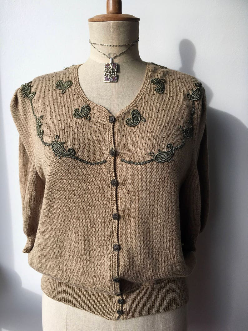70s Embellished Brown Cardigan