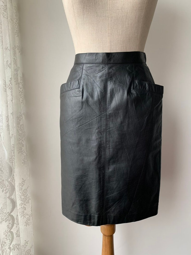 754284939d Vintage 80s black leather high-waisted pencil skirt | Etsy