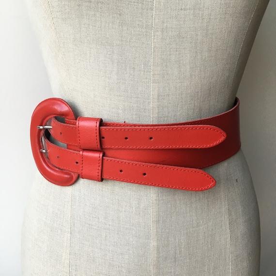 Wide Leather Brick Red Belt, 80s Vintage Leather … - image 10