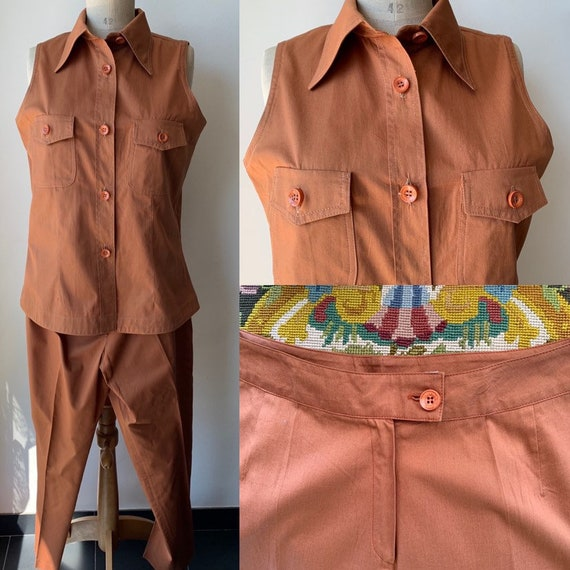 Brown sleeveless cotton pant suit,vintage office s