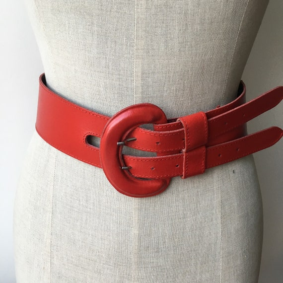 Wide Leather Brick Red Belt, 80s Vintage Leather W