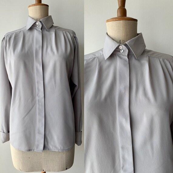 1980s ALEXANDER silver grey SILK blouse, 80s secre