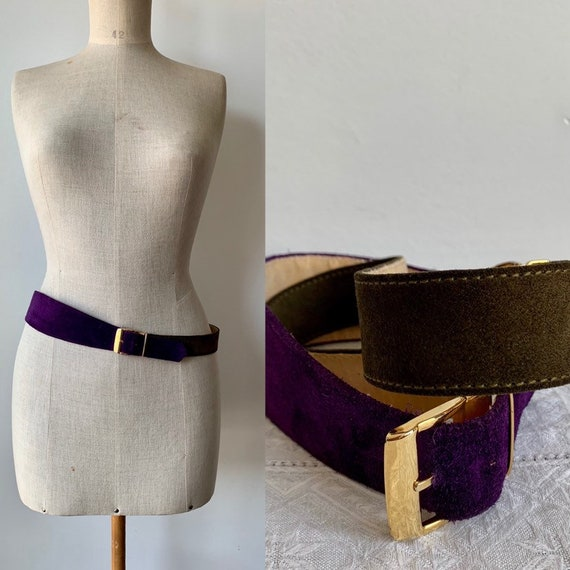 1980s purple and green suede leather belt, vintage