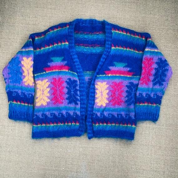 Rainbow mohair handmade cardigan, knit cable cardi