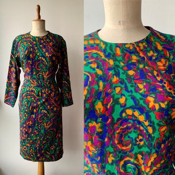 Vintage 80s green wool midi dress, polka dot  colo
