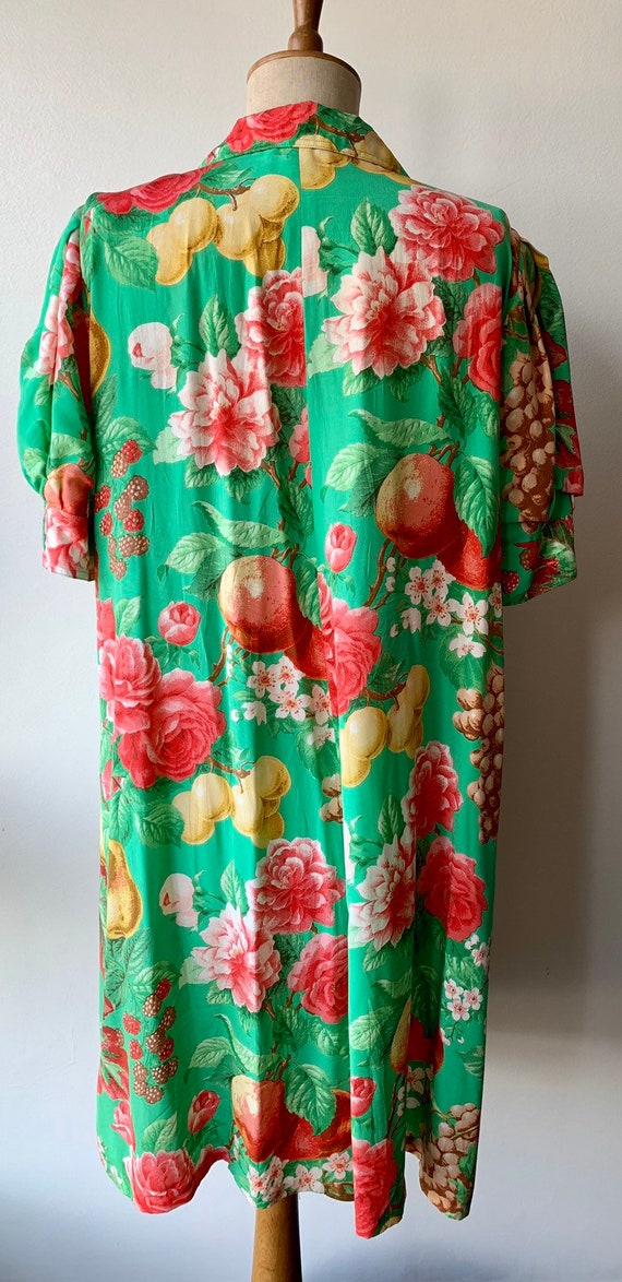 80s Floral green silk shift dress with short-slee… - image 3