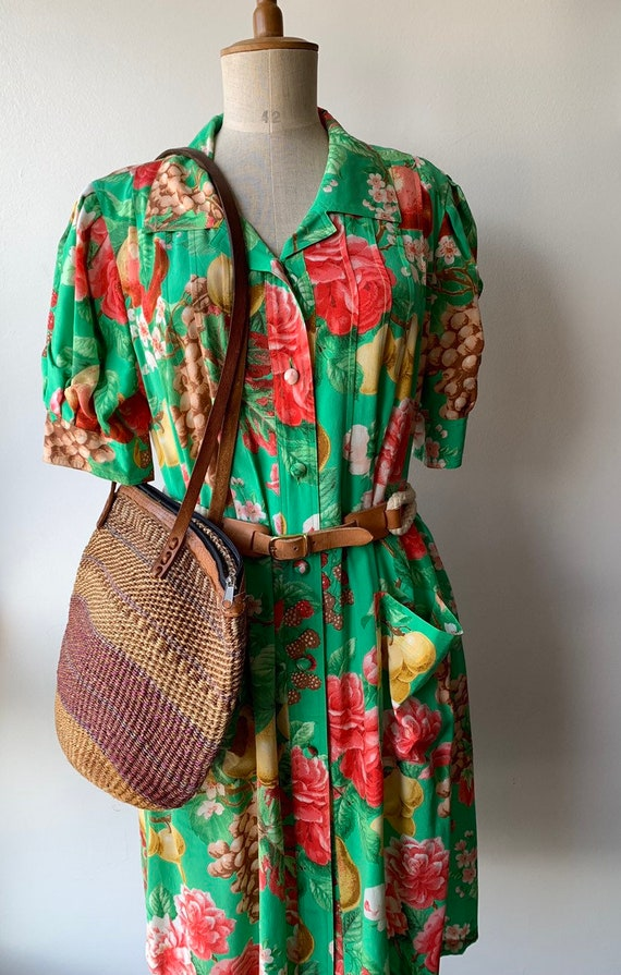 80s Floral green silk shift dress with short-slee… - image 10