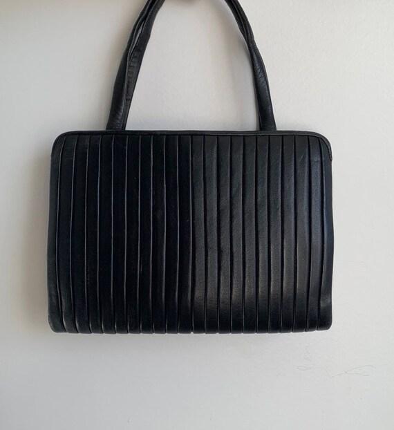 Vintage 50s leather black handbag, black mini leat