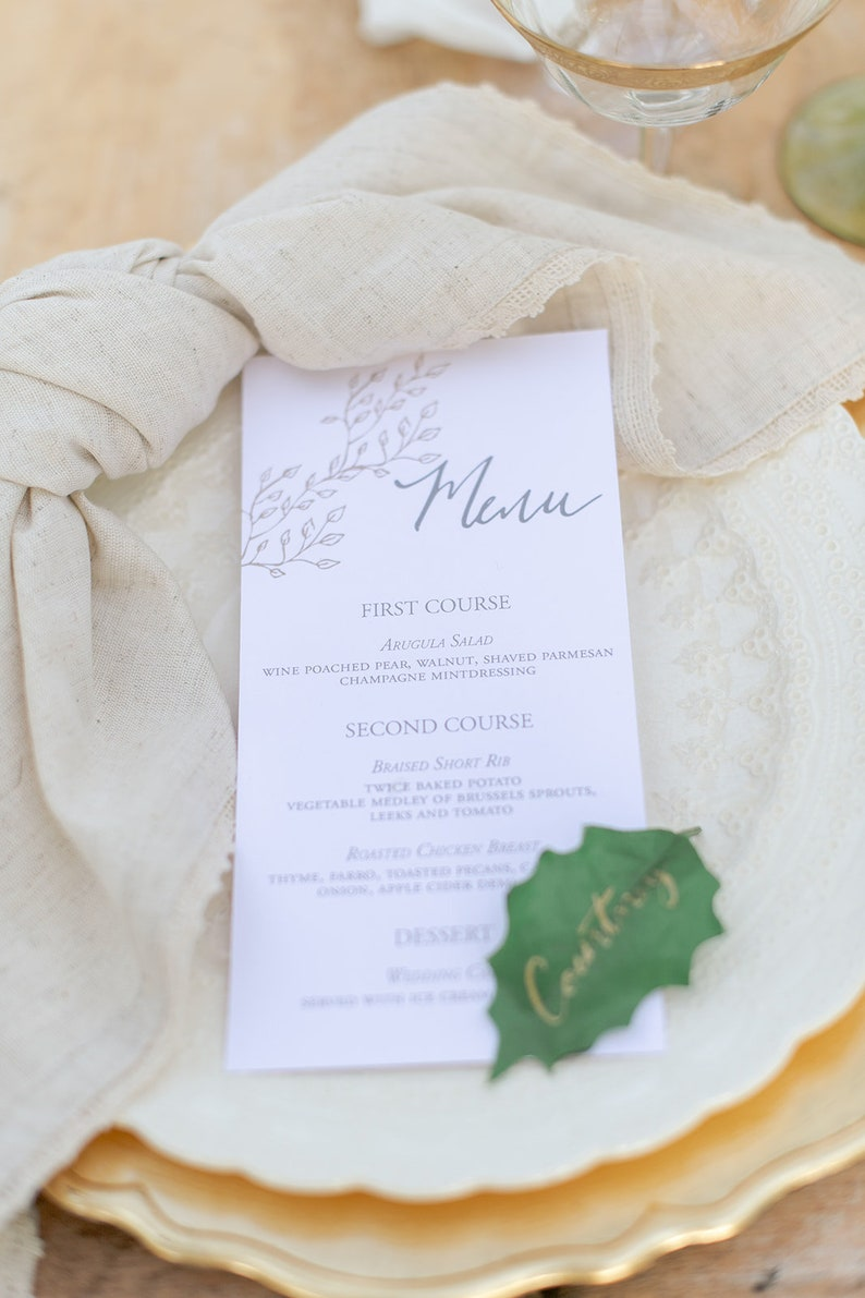 Gold Leaf and Gray Wedding Menu, Wedding Day Menu, Calligraphy Wedding Menu