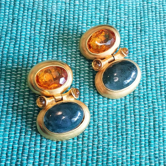 Clip On Earrings Gold Plated Green Orange Glass Si