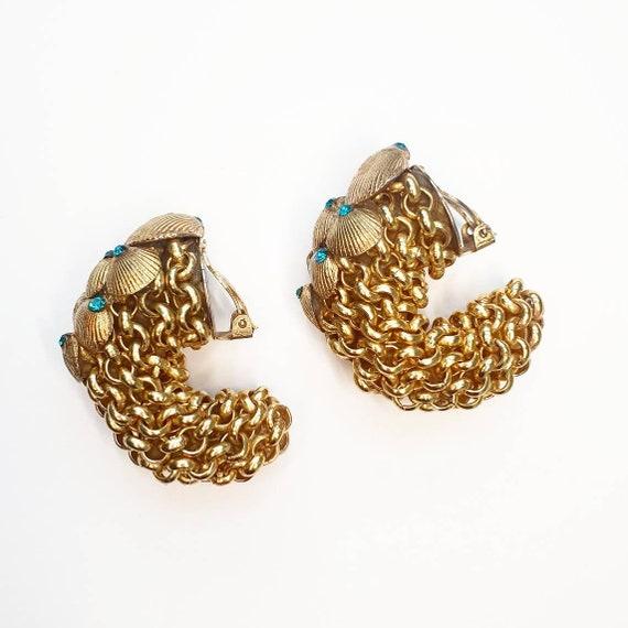 Gold Shell Chain link Clip on Earrings Blue Aqua R