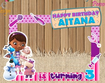 Doc McStuffins Photo Booth Birthday Backdrops Booths Party Selfie