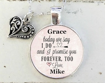STEP DAUGHTER NECKLACE, Wedding day necklace for Step daughter, Today we say I Do and I promise You Forever, too ~ from Step Dad or Step Mom