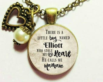 THERE is a little BOY who Stole my HEART, he calls me Mom, Personalized name pendant, New Baby Boy, Grandma gift, nana, gift for Mom