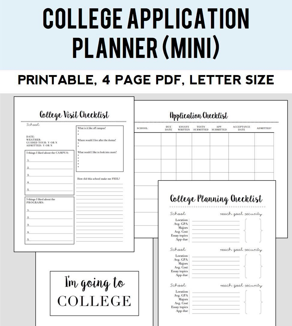 college admissions planner small kit etsy