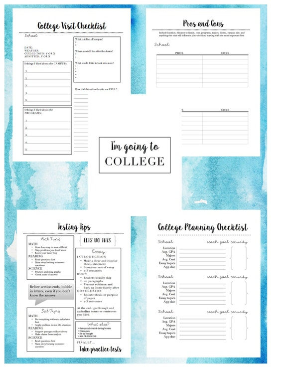college application planner 15 page printable etsy