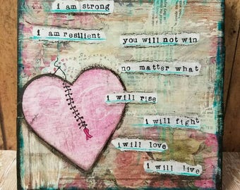 I Will Live Breast Cancer Mixed Media Art Print
