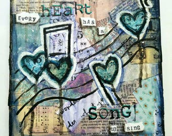 Heart Song, Mixed Media Art Print on Wood