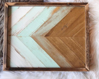 Wood serving tray. Wood art, gold and teal, mint, home decor, living room, bedroom,