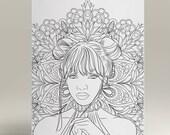 Items Similar To Coloriage Femme Au Mandala Portrait 3 Page De