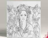 Items Similar To Coloriage La Femme Aux Papillons Portrait 4
