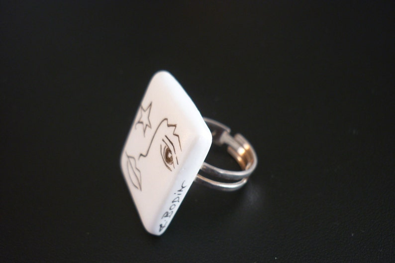Ring hand painted ceramic and silver