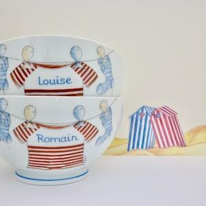Personalized Porcelain Bowl Au fil de l/'eau HAND PAINTED