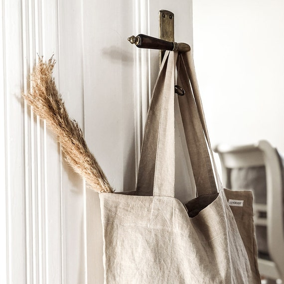Linen bag Smilla white plaid shopping bag jute bag soft linen bag linen bag large