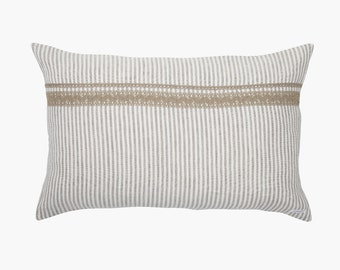 Pillow cover Emmy made of linen pillow cover-pillow strips-with lace and zipper