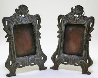 Early 1900's Tabletop Antique Metal Ornate Photo Frames