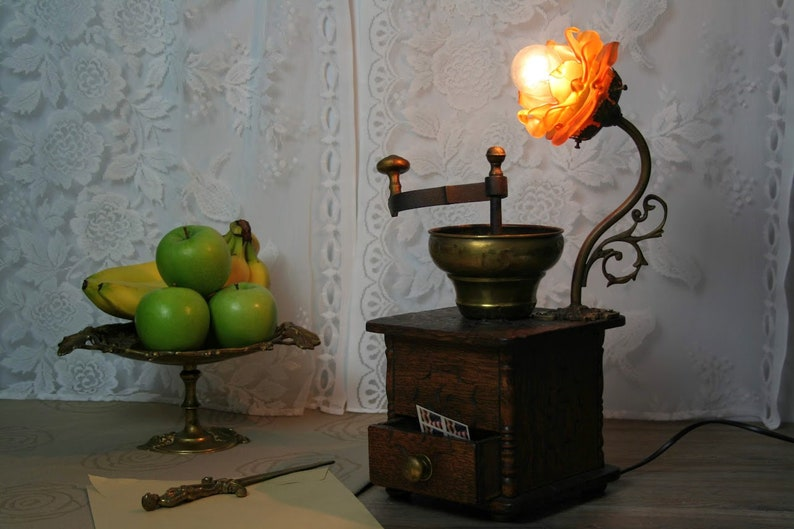 Antique early 1900/'s  coffee grinder converted to a one of a kind desk lamp